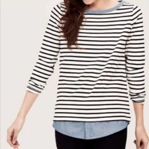 Loft | White Black Striped Layered Top Chambray XS